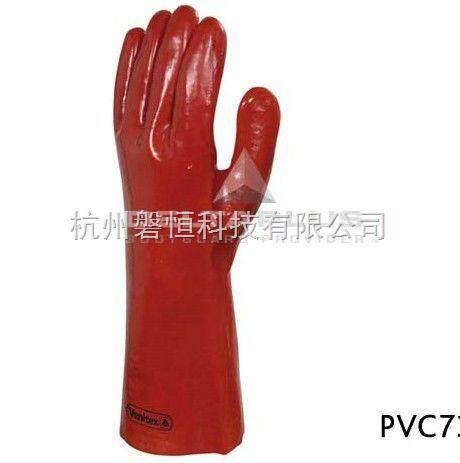 201402 代尔塔 红色pvc防微生物加强硫化手套