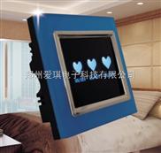 三开蓝水晶玻璃面板爱琪智能墙壁开关 触摸遥控开关